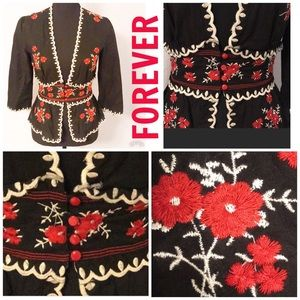 FOREVER 21 Black and Red Embroidered Boho Top S